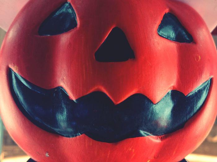 Close-up of pumpkin statue