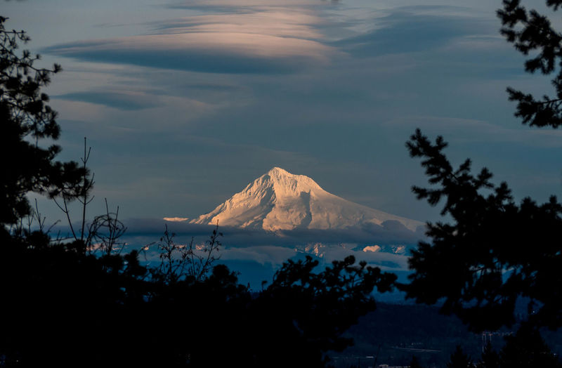 Mount Hood Lenticular Tree Mountain Snow Sky Landscape Cloud - Sky Snowcapped Mountain Mountain Range Mountain Peak Capture Tomorrow