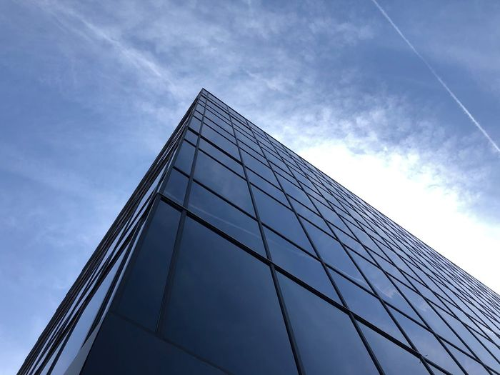 Random building. Looking Up Low Angle View Sky Cloud - Sky Built Structure Architecture Building Exterior Office Building Exterior