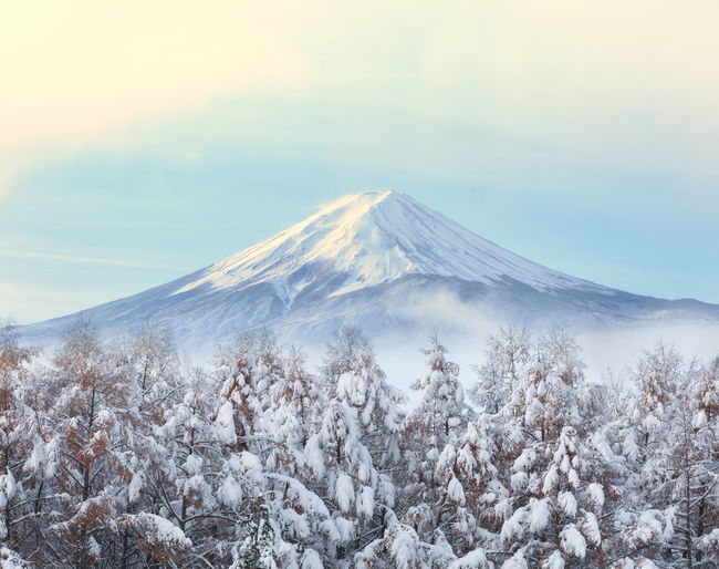 Japan Beauty In Nature Cloud - Sky Cold Temperature Environment Fuji Land Landscape Mountain Mountain Peak Nature No People Non-urban Scene Plant Scenics - Nature Sky Snow Snowcapped Mountain Tranquil Scene Tranquility Volcanic Crater Volcano Winter
