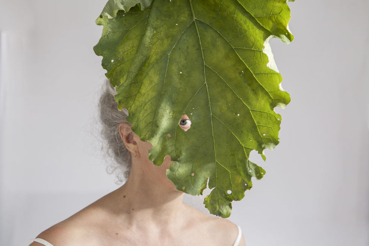Break The Mold Leaf Nature Self Portrait Self Portrait With Leaf Selfportrait Woman Head Woman Portrait