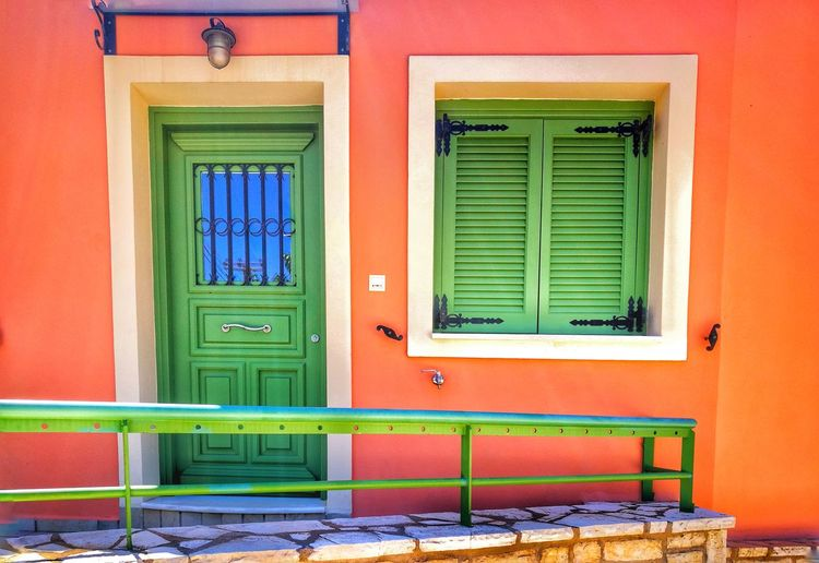 Architecture Built Structure Window Building Exterior Building Entrance House Door No People Multi Colored Closed Green Color Orange Color Residential District Day Security Protection Safety Wall - Building Feature Outdoors