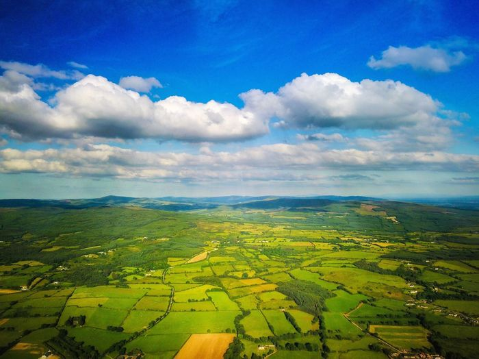 Agriculture Rural Scene Beauty In Nature Field Tranquil Scene Farm Scenics Patchwork Landscape Landscape Cultivated Land Nature Aerial View Tranquility Cloud - Sky Idyllic Sky Cultivated Crop  Outdoors Green Color Ireland Drone