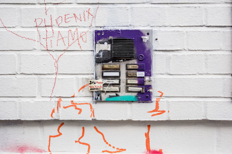 Close-up of telephone on wall