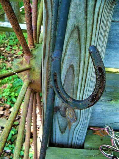 Horseshoe Antique Horseshoe Indiana Old-fashioned USA Wood Grain Antique Wheel Close-up Country Life Damaged Day High Angle View Metal Metal Wheel Metallic Metalwork Nature No People Old Outdoors Pattern Plant Rusty Wheel Wood - Material