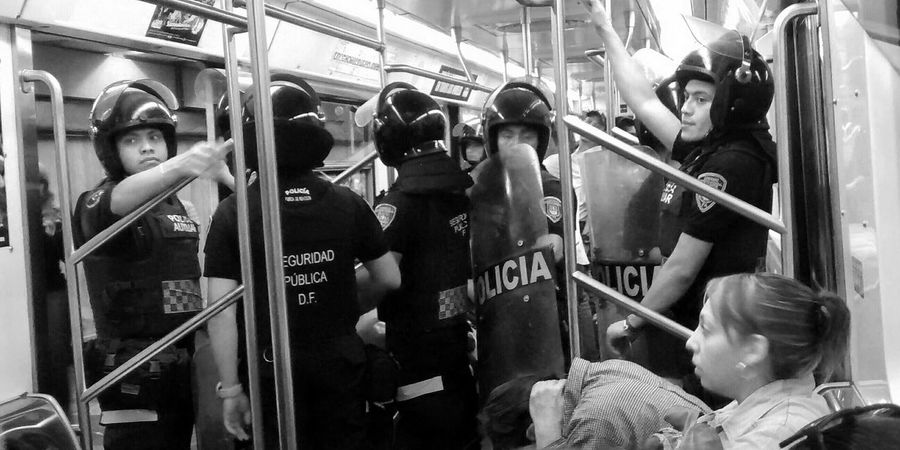 Puercops https://youtu.be/zN9riqigFx4 Police Public Transportation Policeman Spy Blackandwhite Monochrome Fredoom Taking Photos Ciudad De México Notes From The Underground