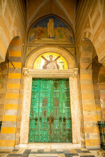 Italy Amalfi  Amalfi Coast Architecture Built Structure Building Arch Religion Building Exterior Belief Door Art And Craft Entrance Place Of Worship No People Mural Spirituality Day Ornate History Window Fresco Ceiling Glass