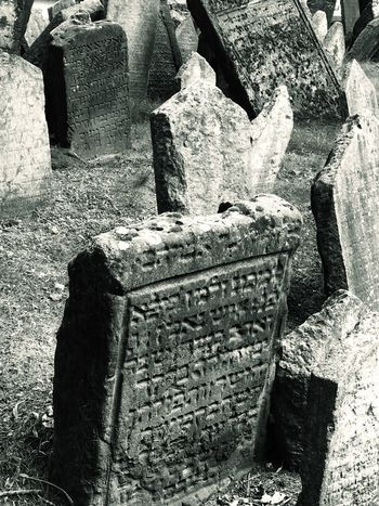 Jewish District Prague Czech Republic Ancient Architecture Built Structure Cemetery Day Grave High Angle View History Jewish Cemetery Memorial Nature No People Old Old Ruin Outdoors Solid Stone Stone Material Stone Wall The Past Tombstone