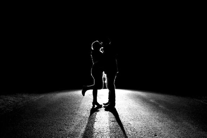 .kiss. Kiss Couple Love Night Dark Nightphotography Two People Fort Henry Kingston Nikon Full Length Shadow Standing Light Outline Rays Low Key