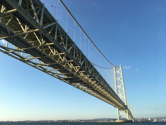 Under The Bridge Awajishima Japan 明石大橋 Akashi Kaikyo Bridge Sky Built Structure Low Angle View Architecture Clear Sky Connection Bridge Bridge - Man Made Structure Blue Day Outdoors