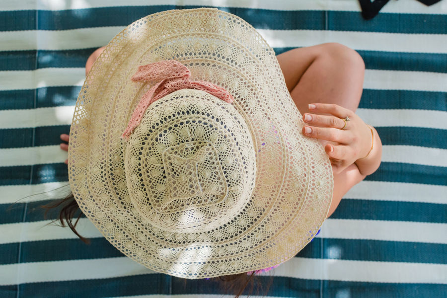 Girl with Crochet Hat Beach Photography Caribbean Paradise Hat Lifestyle POV Stripes Tanning Tropical Paradise Tropical Vacation Beach Beach Towel Crochet Delicious Girlfriend Island Islandlife Lace Leisure Activity Summer Sun Hat Sunning Vacation View From Above