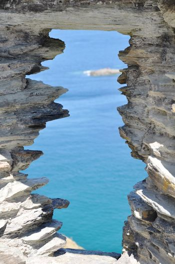 High Angle View Of Rock Formation At Sea Shore