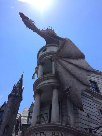 Universal Studios  Florida Harry Potter World Gringottsbank Gringotts Dragon Low Angle View Building Exterior Travel Destinations Vacations Diagon Alley