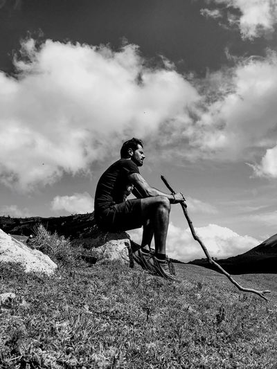 Landscape Mountainscape Mountains And Sky Bw_ Collection BW_photography Bnphotography Bnw_life Nuvole Montagne Mountain Range Mammal Full Length People Occupation Lifestyles Low Angle View Outdoors