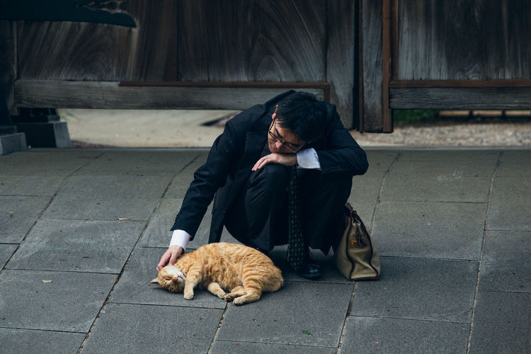 Businessman crouching by cat on footpath