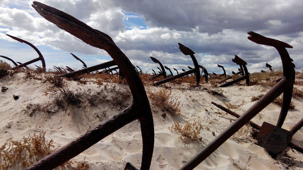 Beach Sand Shore Sky Cloud - Sky Nature Arid Climate Outdoors Scenics Beauty In Nature Remote Landscape Ancora Ancoras Dunas Dunes Anchor Anchorage Anchored Anchors Water Anchor Bower Barril Beach Praia Do Barril Algarve