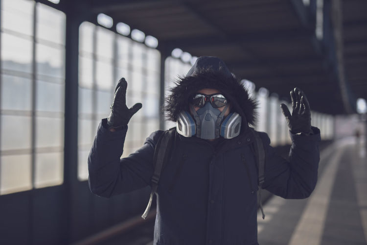 Portrait of person with mask keep distance after corona virus epidemic in berlin march 2020