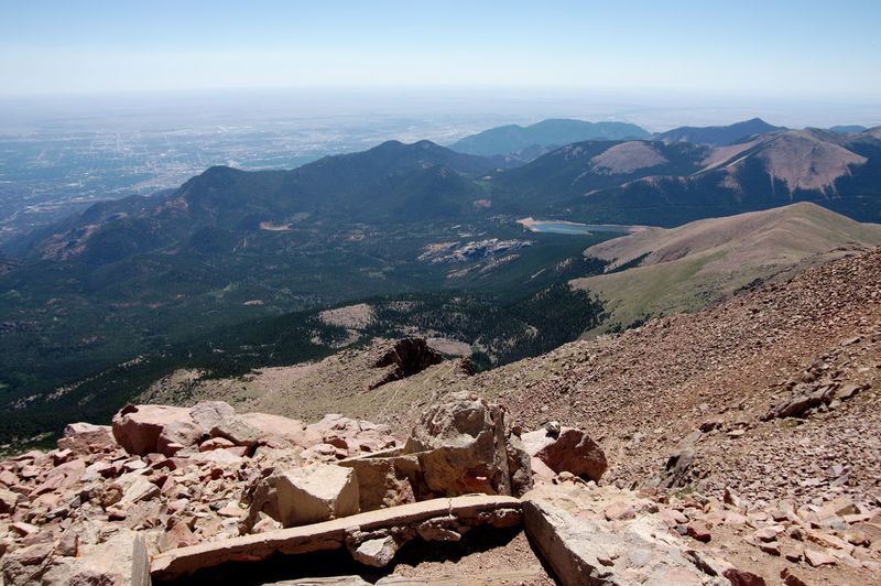 Pikes Peak Colorado Pikes Peak In Colorado Arid Climate Beauty In Nature Climate Day Environment High Angle View Idyllic Land Landscape Mountain Mountain Range Nature No People Non-urban Scene Outdoors Pikes Peak Remote Rock Scenics - Nature Sky Solid Tranquil Scene Tranquility