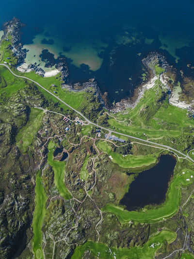 A drone shot captured high above a golfclub in Norway on Lofoten Islands :) Contest DJI Mavic Pro Drone  From Above  Golf Nature Norway Perspectives On Nature Beach Beauty Birds Eye View Coast Dronephotography Golfclub Lofoten Sea Sea And Sky Seascape Structure And Nature