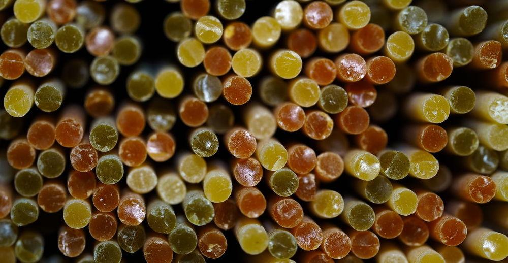 Close up of colorful tricolor spaghetti pasta