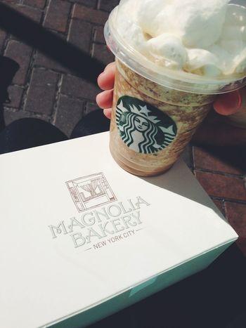 Enjoying The Sun Central Park Starbucks Magnolia Bakery