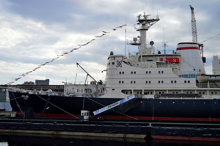 """The icebreaker Museum """"Lenin"""". Architecture Building Exterior Built Structure City Cloud - Sky Commercial Dock Cruise Ship Day Harbor Icebreaker Mast Mode Of Transport Moored Nature Nautical Vessel No People Outdoors Radar Sailing Ship Sea Ship Shipyard Transportation Travel Destinations Water EyeEm Selects"""