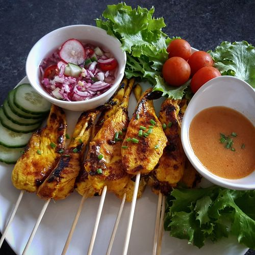 Homemade chicken satay with peanut sauce and salads!!come to joy us now! Open Edit For Everyone Eyeemfoodlover Foodporn❤️ Food Bestoftheday Photooftheday Photographer Enjoying Life Eat Delicious ♡ Taking Photos Hello World EyeEm Gallery Yummy♡ Food Porn Awards Allthebest Awesome_shots Cooking At Home EyeEm Best Edits MyFavorite  EyeEm Best Shots