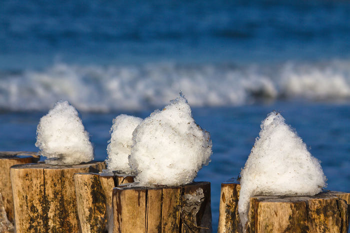 Snow on a groyne on the Baltic Sea coast. Baltic Sea Beach Blue Close-up Cold Temperature Day Focus On Foreground Frost Frozen Groyne Nature Protection Railing Rural Scene Safety Season  Snow Snow Ball Snow Covered Tranquil Scene Tranquility Weather White Color Winter Wood - Material