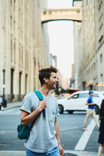 Full length of man on road in city
