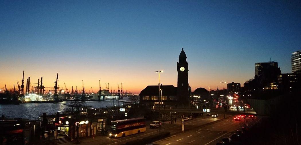 Hamburg Landungsbrücken  Sundown Harbour Travel Destinations City Clock First Eyeem Photo