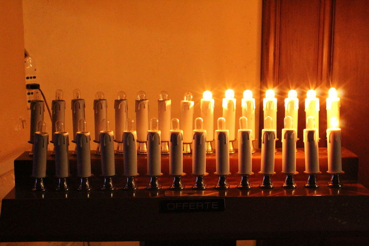 Absence Arrangement Candles Of Faith Church Devotional Tables Faith And Devotion Faith In God Illuminated Indoors  Large Group Of Objects Lighting Equipment Order Prayer Lights Prayers Time Repetition Beautifully Organized