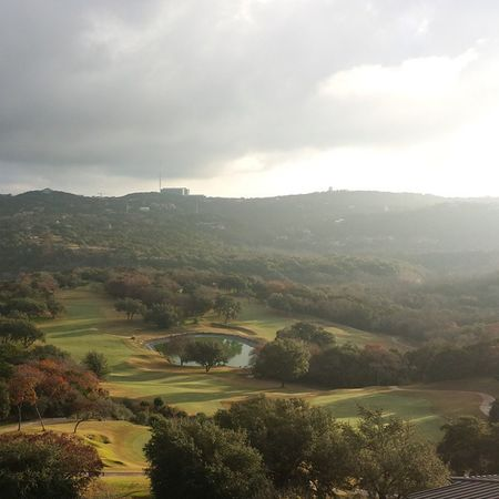 The amazing View from my room at Omni Barton Creek in Austin TX Horizon Cloudy Fallcolors Golfcourse