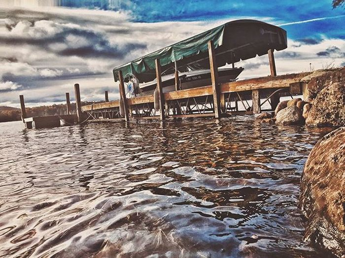 Until Next Year!! ADK Adirondacks Upstateny Boat Water Nature Vscocam Snapseed Leadingrelocal Clouds Color Explore Adventure Photooftheday Pixelpanda Photomasters Fall 2015  Cabin Travel Traveling Oldforge 4thlake Boatride IPhoneography photoshop edit nofilter