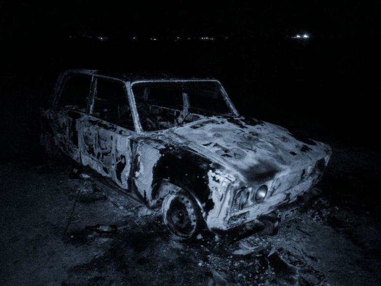 Car Transportation Night Land Vehicle No People Russian Car Abandoned Burned Car Monochrome