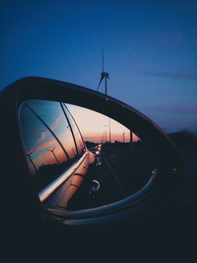 All we do is drive, All we do is think about the feelings that we hide. Car Side-view Mirror Road On The Road Roadtrip Thinking Sunset Good Vibes EyeEm Best Shots Clear Sky Traffic