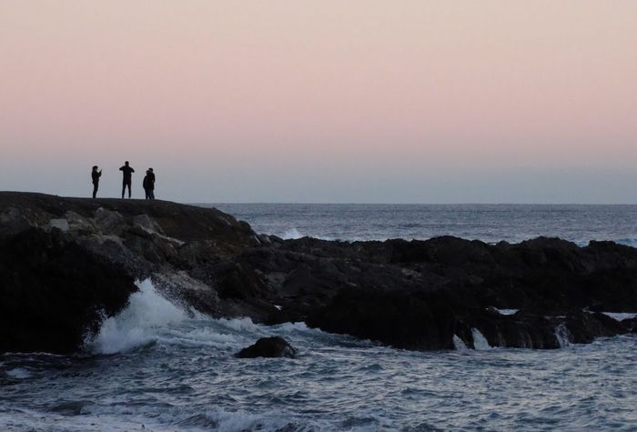 People And Places. Island Bay Wellington  New Zealand People Sunset Rocks Landscape Sea Sky People And Places