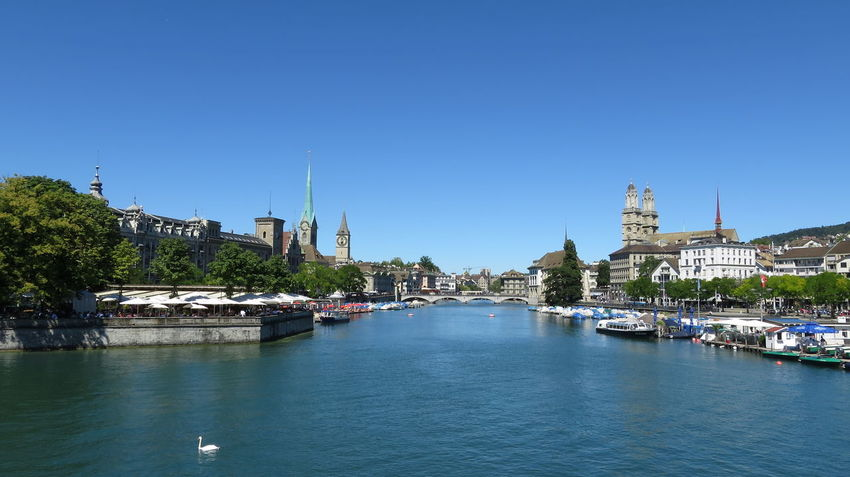 Limmat Blue Clear Sky Limmat Limmatquai Outdoors Schweiz Switzerland Tranquil Scene Water Waterfront Zürich