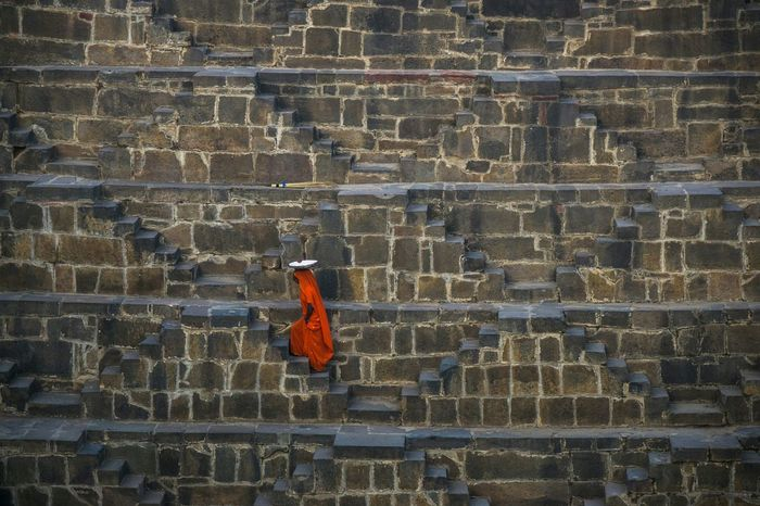 Stairs of Life Walking Jaipur Rajasthan Chand Boari Step Well India Stairways One Woman Only Abhaneri Ancient Fine Art Photography Color Of Life Hidden Gems  Color Palette Colour Of Life