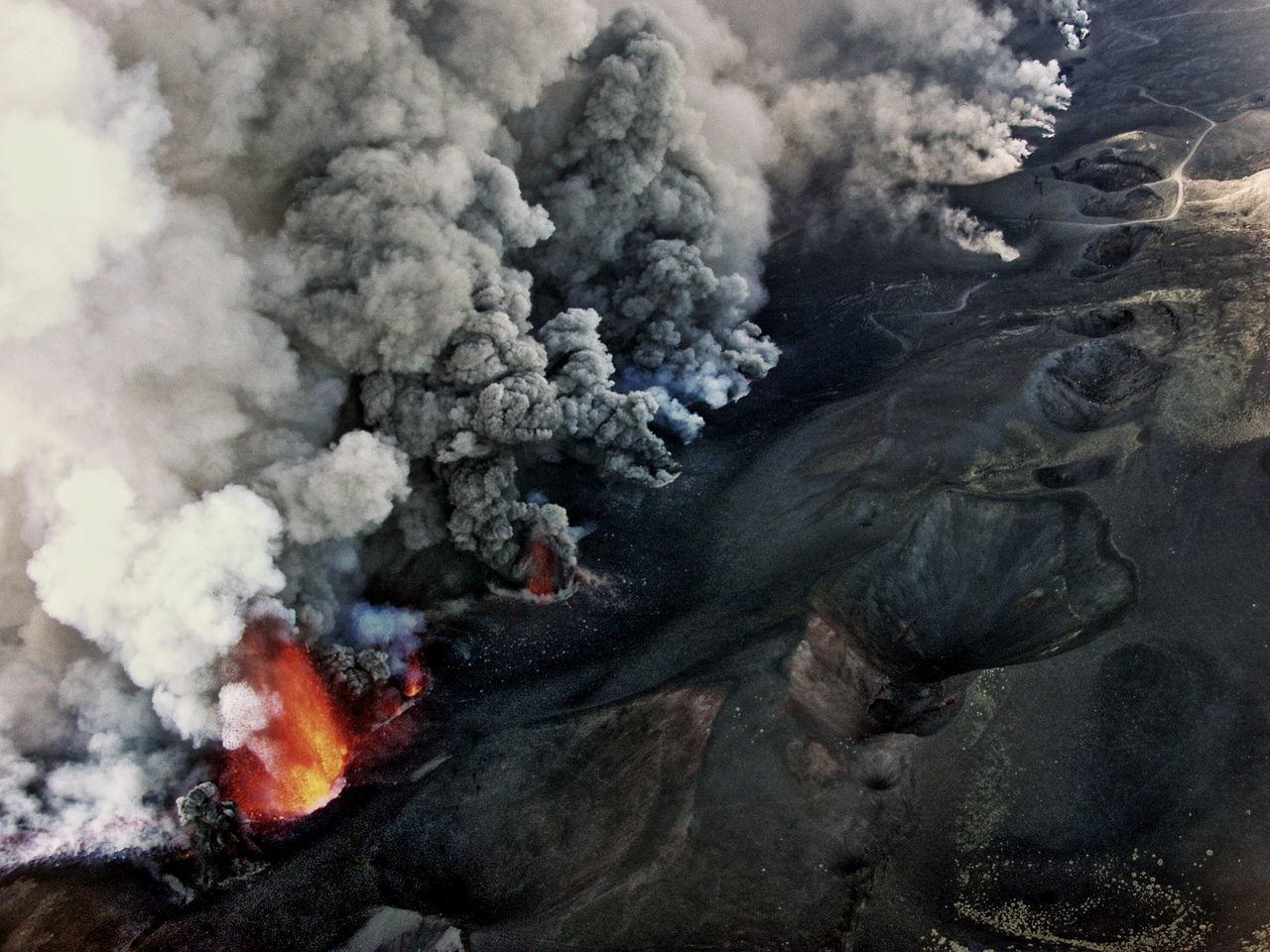 Smoke emitting from volcano