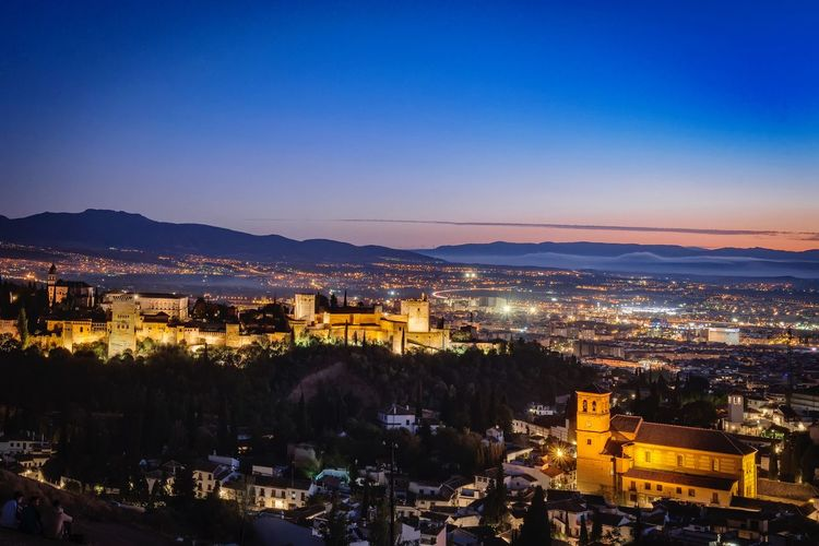 Alhambra Architecture Night City Sky Blue Building Town Outdoors Illuminated Cityscape Fortaleza Panoramic Alhambra Palace Alhambra De Granada  Granada, Spain No People TOWNSCAPE High Angle View Building Exterior Residential District Built Structure Blue Hour Cityscape Nazari Palace