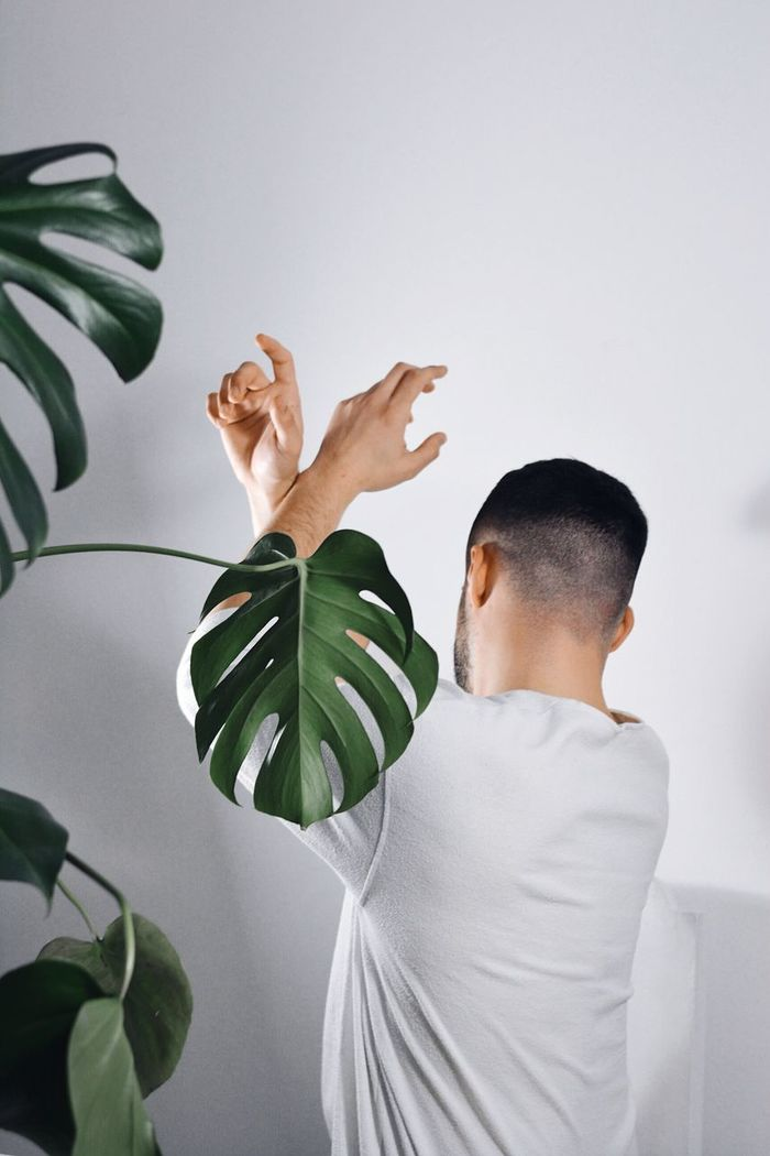 Young man holding white plant against wall