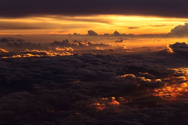 Clouds. Evening. Flight. Sunset Scenics Beauty In Nature Tranquil Scene Cloud - Sky Tranquility Orange Color Majestic Idyllic Cloudscape Nature Sky Dramatic Sky Atmospheric Mood Sea Atmosphere Aerial View Cloud Water Mountain