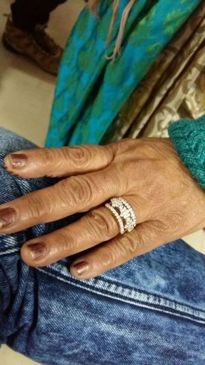 Old Hand Ring Wrinkles Diamond