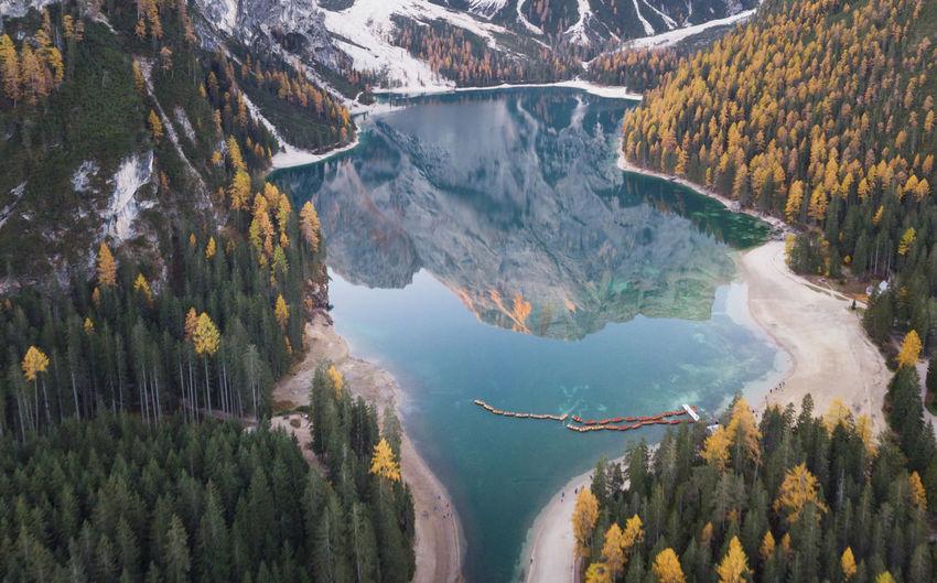 High angle view of lago di braies through mountains
