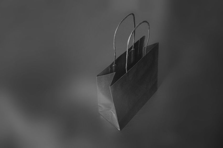 Black papper bag Paper Bag Shopping Art And Craft Bag Black And White Close-up Craft Creativity Gray Gray Background Single Object