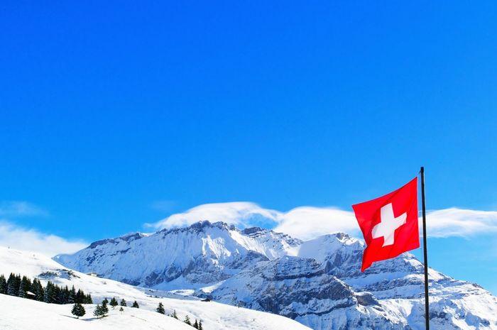 Flag Switzerland Mountains Travel