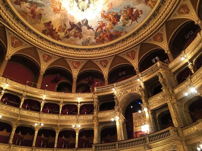 Architecture Architectural Column Travel Destinations Built Structure Stage Theater Indoors  Fresco No People Day Budapest Operahouse