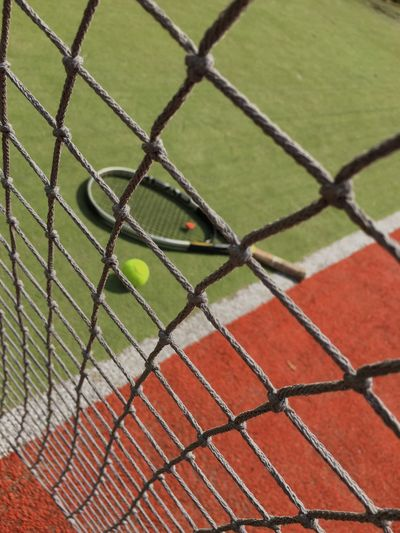 High Angle View Of Tennis Balls With Racket On Grassy Field In Court