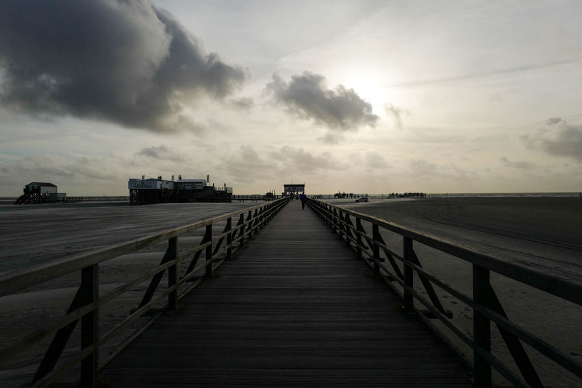 Against The Light Dark Beach Bridge Cloud - Sky Light And Dark Nature Outdoors Pier Sky The Way Forward Thread Tranquility Way Wood - Material