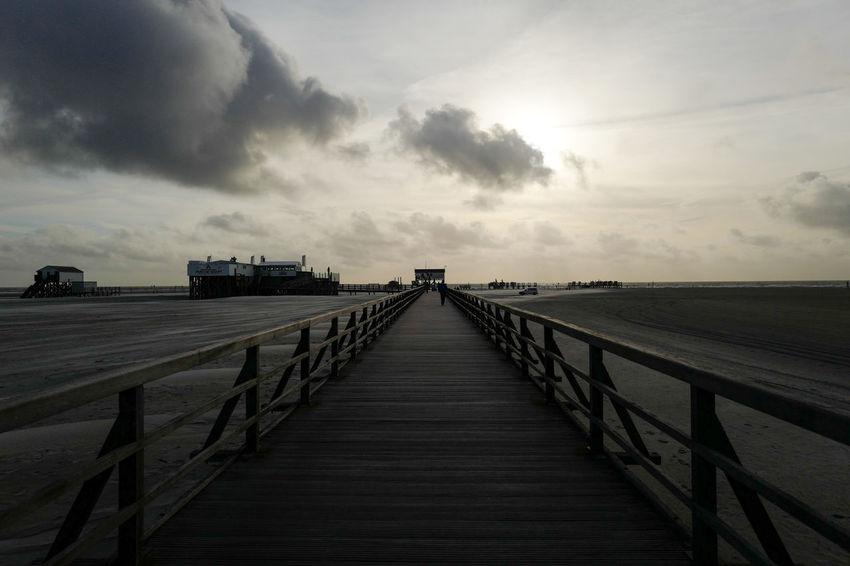 Against The Light Dark Beach Bridge Cloud - Sky Light And Dark Nature Outdoors Pier Sky The Way Forward Thread Tranquility Way Wood - Material